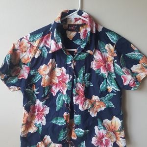 90s cropped Hawaiian button down shirt S